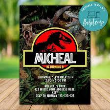 Dinosaurio Jurasico Mundo Fiesta Cumpleanos Invitacion Imprimible