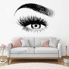 New Design Eye Eyelashes Wall Decal Sticker Lashes Eyebrows Brows Beauty Salon Quote Make Up Vinyl Girl Room Wall Stickers Wish