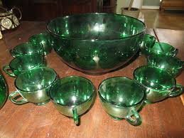 16 pc green depression glass punch bowl