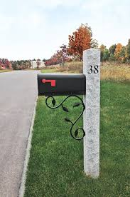Granite Mailbox Post With Engraved House Number Traditional Landscape Boston By Avo Fence Supply Houzz Nz