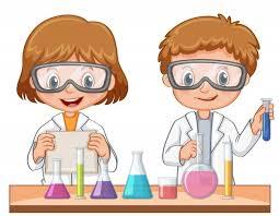 Dos estudiantes hacen experimento científico   Vector Gratis