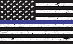 5in X 3in Black And White American Flag Blue Lives Matter Sticker Vinyl Decal Stickertalk