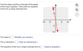 find the slope and the y intercept