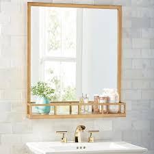 antique brass mirror with shelf