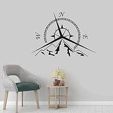 Amazon Com Stickers For Wall For Wall Decoration Sea Nautical Compass Wall Decal Compass Design Home Decor Mountain Compass Rose Wall Art Sticker Removable Wall Art Baby