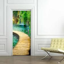 Wooden Bridge On The River Door Stickers Wallpaper Living Room Kitchen Waterproof Home Decal Vinyl Door Mural Door Stickers Aliexpress