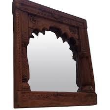 hand carved vintage wooden jharokha mirror