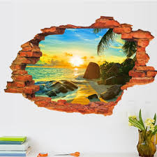3d Broken Wall Decal Sunset Scenery Seascape Island Coconut Trees Household Adornment Can Remove The Wall Stickers Wall Sticker Decor Wall Sticker Decoration From Qwonly Shop 4 04 Dhgate Com