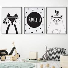Tribal Prints Nursery Wall Art Canvas Painting Custom Personal Name Nordic Poster Cartoon Fox Bear Wall Pictures Kids Room Decor Wallcorners Art Canvas