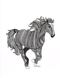 Black And White Zentangle Wild Horse Drawing Http Www Etsy Com