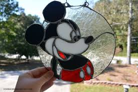 mickey mouse stained glass suncatcher