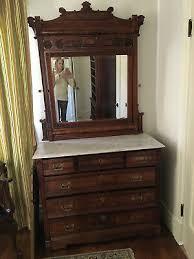 antique eastlake dresser mirror red