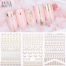 1pcs Gold Nail Stickers 3d Nail Art Decals Adhesive Glitter Star Jewelry Geometry Manicure Slider Decor Foil Tip Chdp2001 2012 Stickers Decals Aliexpress