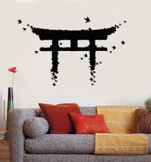 Vinyl Wall Decal Japan Gate Birds Japanese Art Asian Stickers Unique Gift Ig3880 Diy Wall Decals Japan Decor Japanese Decor
