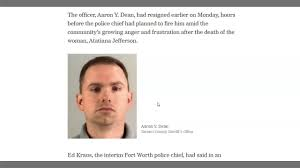 Ft Worth Officer Aaron Dean Resigns - Arrested & Charged With Murder -  YouTube