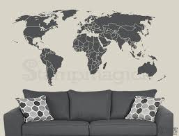 World Map Wall Decal Countries Border Wall Art Sticker Boundaries Outline Vinyl Or Chalkboard Black White Board K295 Map Wall Decal World Map Wall Decal World Map Wall