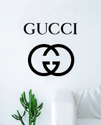Gucci Logo Wall Decal Home Decor Bedroom Room Vinyl Sticker Art Quote Designer Brand Luxury Girls Cute Expensive Wall Stickers Bedroom Decal Wall Art Vinyl Wall Art Decals