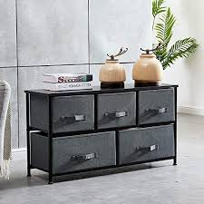 Amazon Com Homesailing Taupe Grey Bedroom Chest Of 5 Fabric Drawers Dresser Closet Living Room Unit Storage Sideboard Cabinet For Kids Room Clothes Toy Collection Nursery Long Tv Stand Cabinet 43inches Kitchen