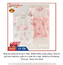 Body hoa hồng cho bé gái 3-13kg - BD028 (Màu: trắng, hồng) - Body bé gái,  body bánh bèo, quần áo sơ sinh, đồ sơ sinh - Bánh bèo, dễ thương, đồ
