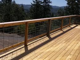 Cedar Deck With Hog Panel Rail Building A Deck Cedar Deck Deck Stair Railing