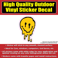 Melting Smiley Face Vinyl Car Window Laptop Bumper Sticker Decal Colorado Sticker