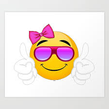 Sunglasses smiling thumbs up emoji clothing gifts for girls Art Print by  bluebaloon88 | Society6