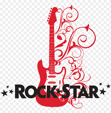 Rock Star With Embellished Guitar Wall Decal Transparent Rockstar Guitar Png Image With Transparent Background Toppng
