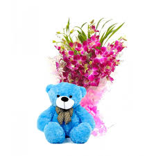 purple orchid bouquet with teddy bo