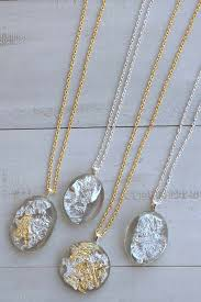 diy gold silver leaf resin pendants