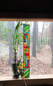 panel hanging stained glass 4 x 28