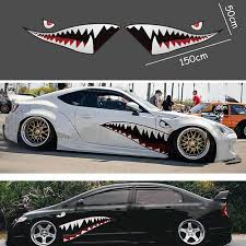 2pcs Shark Mouth Tooth Teeth Pvc Sticker Decal For Cars Trucks Vans Boats Rainproof Exterior Accessories Stickers Car Stickers Aliexpress