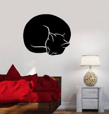 Wall Decal Sleeping Cat Kitten Pet Animal Vinyl Sticker Ed1485 Wallstickers4you