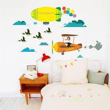 Kids Yellow Aircraft Balloon Wall Stickers Gallery Wallrus Free Worldwide Shipping