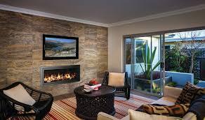 interior stone walls family room modern