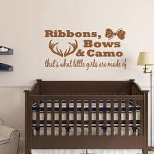 Amazon Com Cliffbennett Ribbons Bows Camo Little Girls Are Made Of Vinyl Wall Decal Girl Bedroom Nursery Home Decor Hunting Antlers Child Custom Decal Home Kitchen