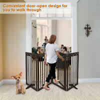 Freestanding Expanding Wood Barrier Dog Fence Pet Gate Doggy Door 66 Inch Wide Ebay