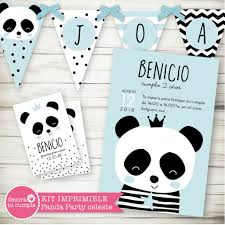 Kit Imprimible Osito Panda Party Celeste Coronita