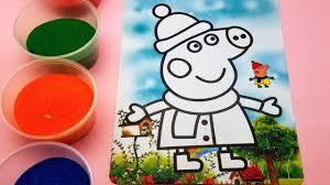 Video - Bé học tô màu tranh cát hình cô bé heo Peppa xinh xắn