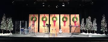 wreaths and walls church stage design