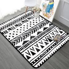 black white geometric living room