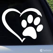 Heart Paw Vinyl Decal Top Pet Gifts