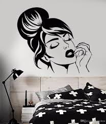Vinyl Wall Decal Beautiful Girl Face Wall Sticker Home Bedroom Decoration Hairstyle Makeup Wall Mural Beauty Shop Decor Nursery Decals Nursery Room Wall Decals From Joystickers 16 69 Dhgate Com