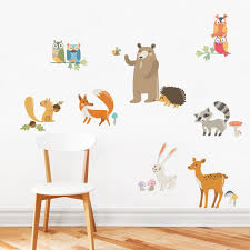 Forest Animals Wall Sticker Peel And Stick Repositionable Fabric Stickers
