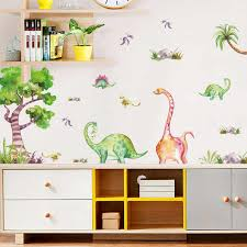 Watercolor Dinosaur Tree Cartoon Wall Stickers Kids Room Porch Bedroom Toy Room Decor Stickers Diy Self Adhesive Wardrobe Decals Wall Stickers Aliexpress