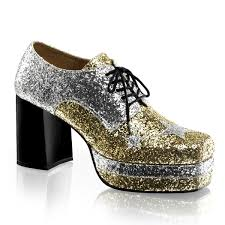 Men Platform Shoes GLAMROCK-02 - Gold Glitter, Funtasma