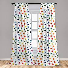 Amazon Com Lunarable Paint Curtains Circle Color Splashes Forming Colorful Polka Dots Modern Abstract Kids Baby Playroom Window Treatments 2 Panel Set For Living Room Bedroom Decor 56 X 63 White Yellow Home