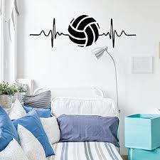 Amazon Com Volleyball Wall Decal Heart Beat Vinyl Art Decor For Bedroom Or Playroom Sports Decorations Handmade