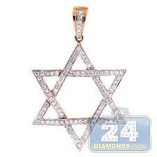 david jewish pendant 14k rose gold 0 42ct