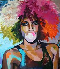 Afro Woman Portrait Wall Art Canvas Print Multicolor African Girl Oil Canvas Painting For Office Room Home Wall Decor Drop Ship In Painting Calligraphy From Home Garden New Year