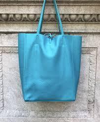 turquoise leather tote bag jijou capri